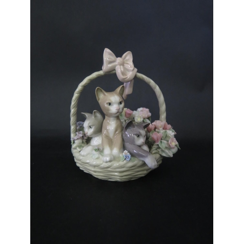 1246 - A Lladro Kitten and Floral Basket Ornament, c. 14cm high