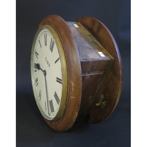 1251 - A Twin Dial Railway Station Clock with dial marked G.W.R. a single chain driven fusee movement and 1...