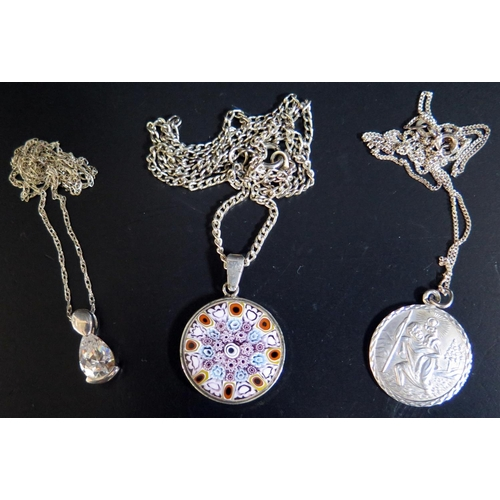12 - A Silver and Millefiori Glass Pendant Necklace, silver and stone set pendant necklace and silver St....