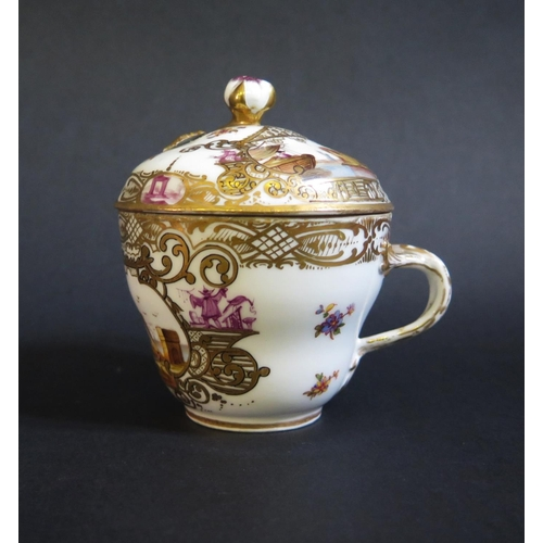 1224 - A Meissen Porcelain Cup with cover decorated with buildings and shipping scenes