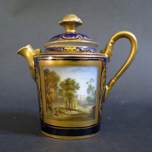 1225 - An Early 19th Century Crown Derby Pot decorated with a named scene of Rosamond's Pond and landscape ...