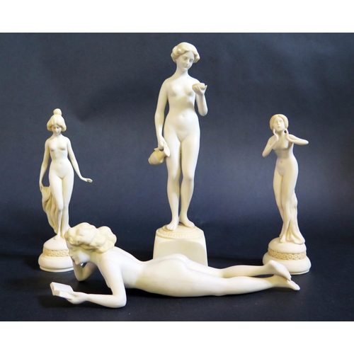 1227 - Four Nude Biscuit Figurines, cross mark to base, tallest 21cm