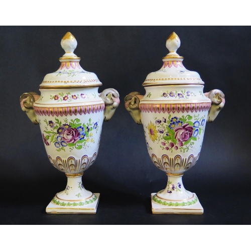 1228 - A Pair of Veuve Perrin Faience Rams Vases with ram's mask handles and covers, decorated with scenes ...