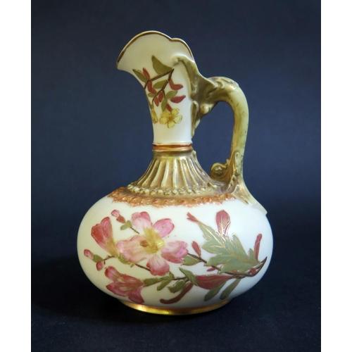 1230 - A Royal Worcester Blush Ivory Floral Decorated Jug, c. 12cm