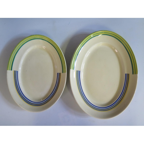 1232 - A Pair of Graduated Clarice Cliff Bizarre Oval Platters, largest 36.5cm. Small one with crazing and ...