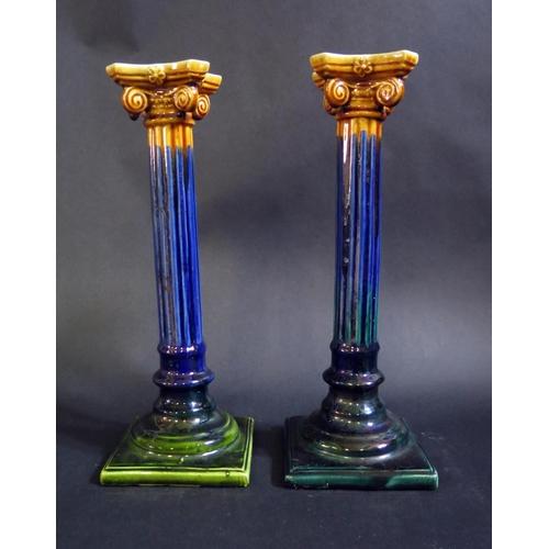 1233 - A Pair of Ceramic Corinthian Column Candlesticks, 28.5cm