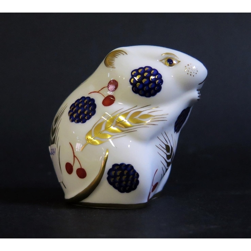1238 - Two Royal Crown Derby Paperweights _ Rabbit and Mouse, with box