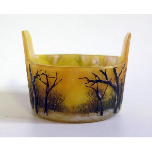 1243 - A Daum Nancy Miniature Cameo Glass Bucket decorated with snowy wooded sunset scene, 4.5cm diam.