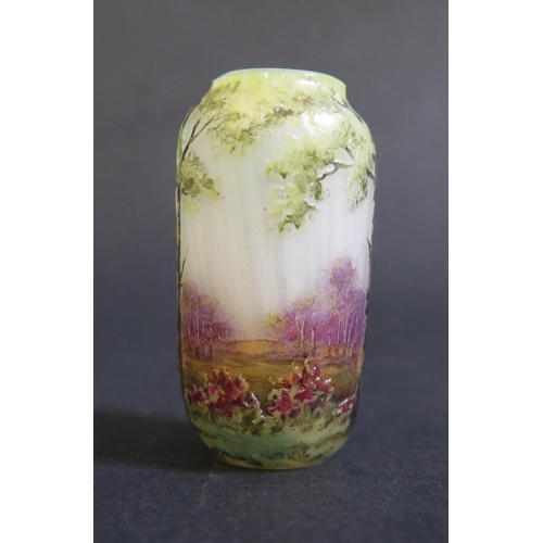 1244 - A Daum Nancy Miniature Cameo Glass Vase decorated with forest glade scene, 52mm high