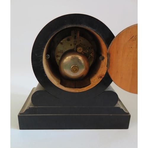 1252 - A Victorian J.W. Benson Ebonised Striking Mantle Clock, 23cm, running