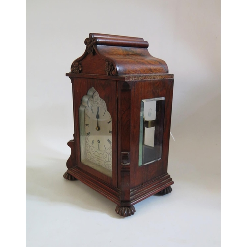 1253 - A Mid 19th Century  Rosewood Cased Single Fusee Mantle Clock with silvered dial by Bennet of 65 Chea...