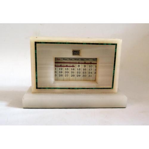 1254 - An Art Deco Onyx and Malachite Inlaid Calendar, 18cm base