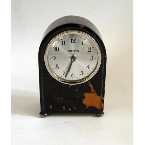 1255 - A 19th Century Tortoise Shell Clock with later movement, 12cm