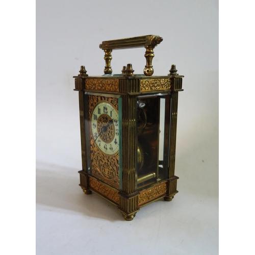 1256 - A Gilt Carriage Clock, 15cm, running