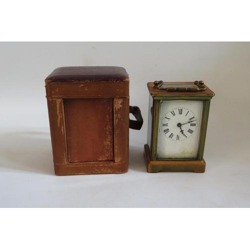 1257 - A 19th Century Brass Carriage Clock. A/F