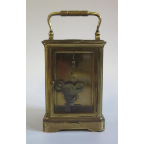 1262 - A 19th Century French Brass Carriage Clock by Alfred Drocourt, movement no. 33548, 16.5cm, running