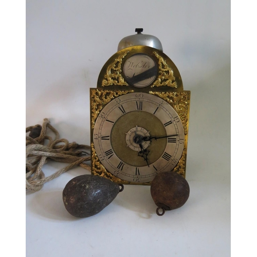 1263 - A Small English Brass Travel Wall Clock, the silvered chapter ring with brass spandrels, signed R We...