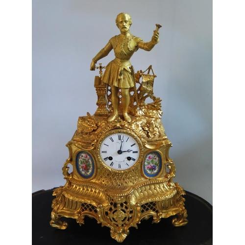 1269 - A Miroy Fres. Gilt Spelter Mantle Clock with Sevres style porcelain panels under glass dome, 56cm hi...
