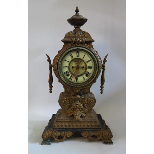 1270 - An Ansonia Clock Co. Brass Mantle Clock, 49cm. A/F