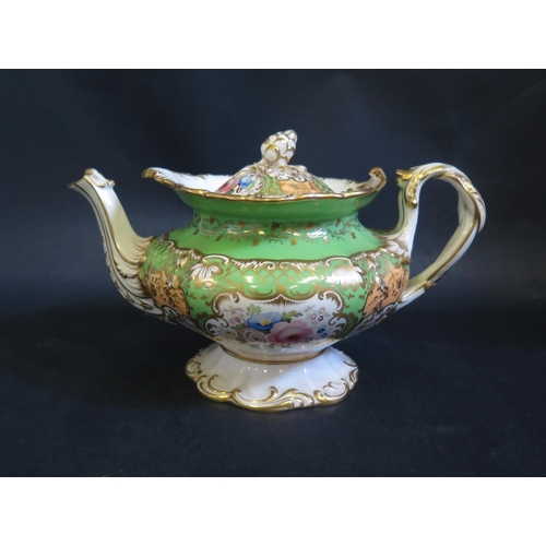 1302 - A Victorian Coalport Teapot with floral decoration on a green ground with gilt highlights. Spout res...