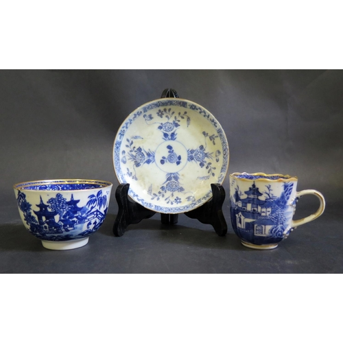 1306 - A Blue and White Porcelain Willow Pattern Tea Bowl, coffee can and saucer
