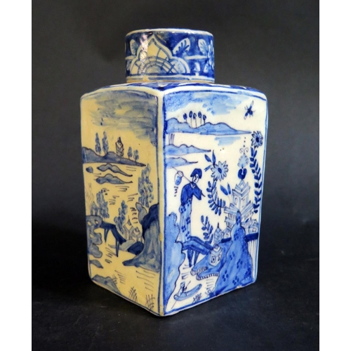 1310 - An 18th Century Dutch Delft Blue and White Tea Flask decorated with chinoiserie scenes by Johannes v...