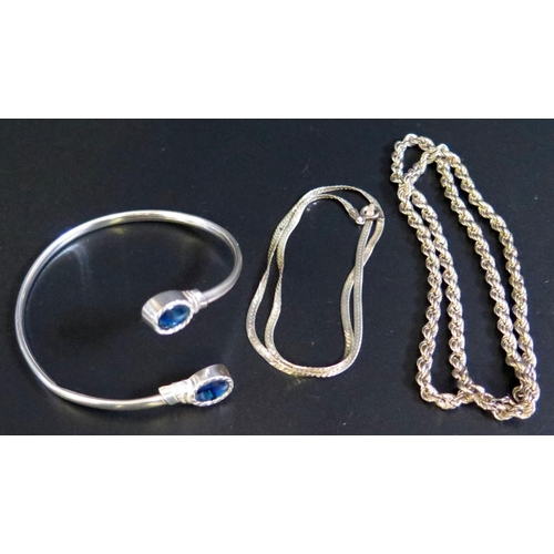 14 - Two Silver Necklaces and silver bangle (bangle A/F), 20g...
