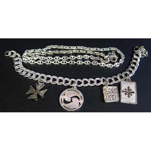 19 - A Silver Charm Bracelet and silver necklace, 34g...