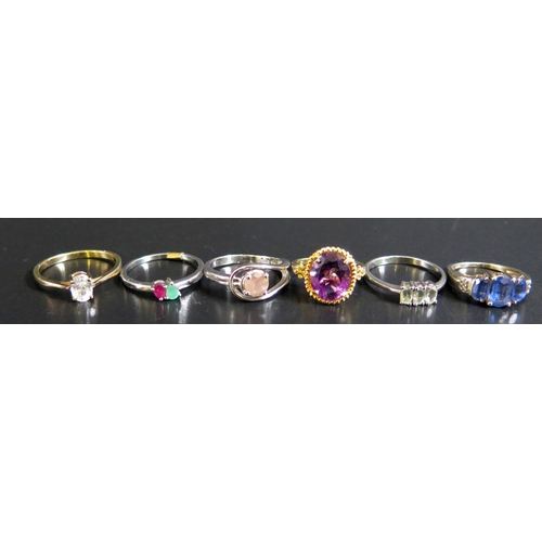 22 - Six Silver Rings, 16g...