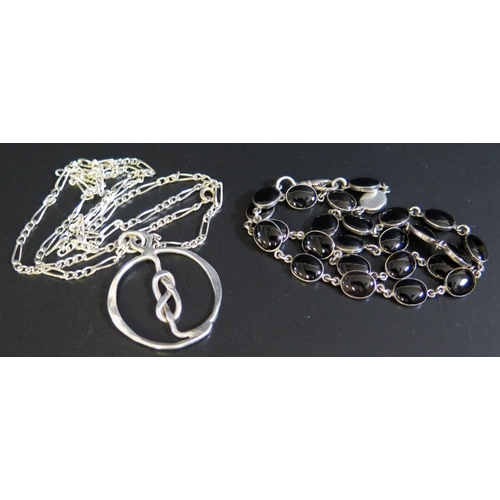 28 - A Silver and Stone Set Necklace and silver pendant necklace, 42g...