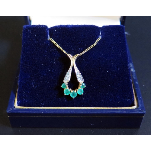 31 - A 9ct Yellow Gold, Emerald and Diamond Pendant Necklace, 2.9g, 21mm drop, Bowden & Sons box...
