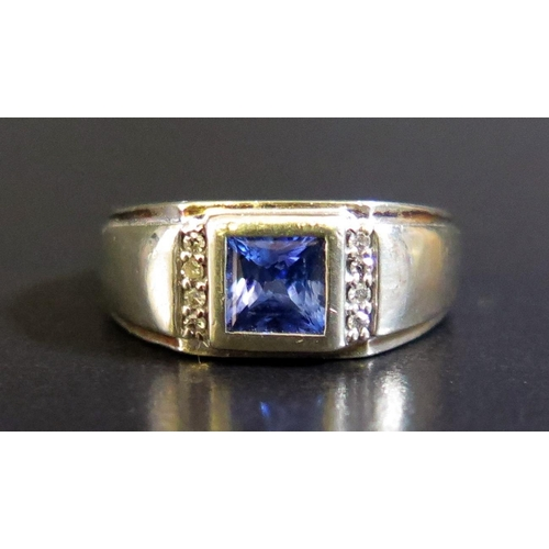 33 - A 9ct White Gold, Tanzanite and Diamond Ring, size S, 8.1g...