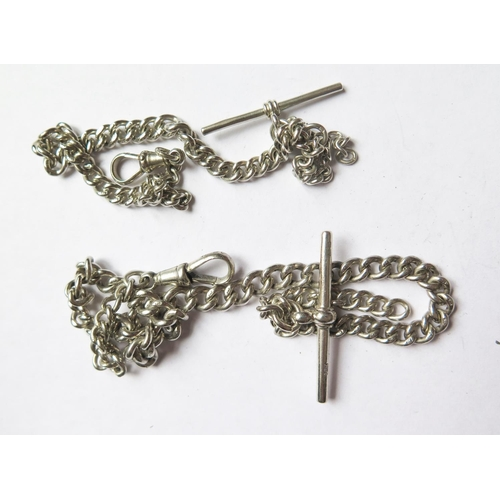 369 - Two Silver Alberts with T-bars, 43.6g...