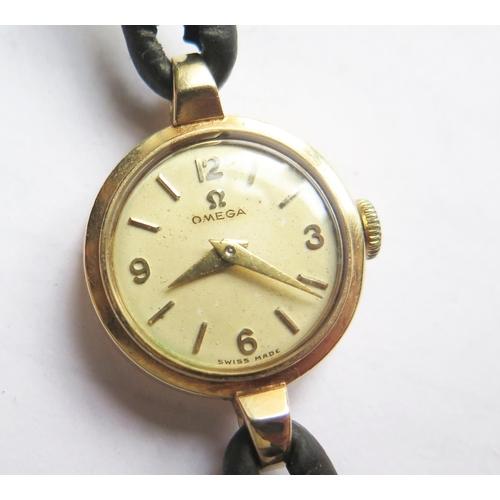 375 - An Omega 9ct Gold Ladies Wristwatch, running...