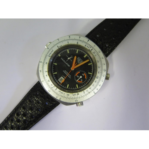 376 - An HEUER Automatic Calculator Wristwatch with Cal. 15 movement, fluorescent orange hands and rare or...