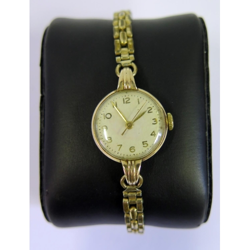381 - A TUDOR Ladies Gold Plated Wristwatch, running