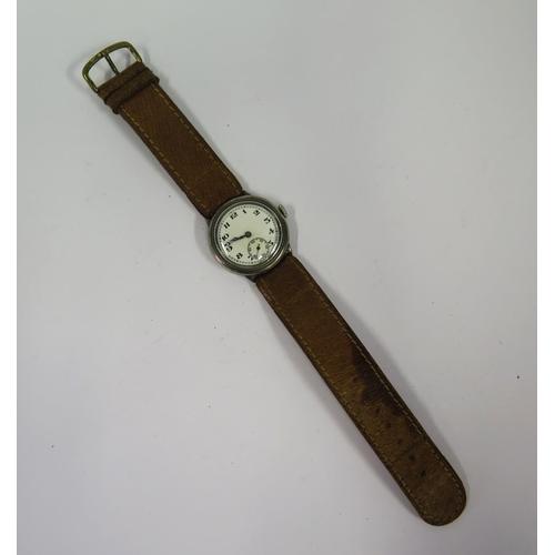 384 - A Silver Cased Wristwatch, 31mm case, running