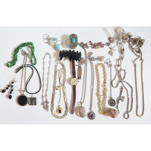 39 - A Selection of Costume Jewellery and silver cased ladies watch (needs attention)...