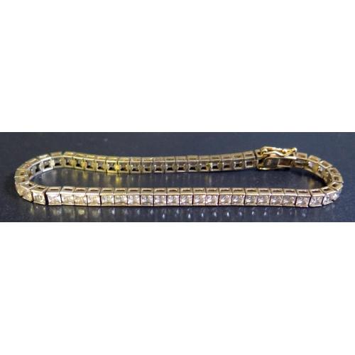 16 - A Silver Gilt White Stone Set Tennis or Line Bracelet, 11g...