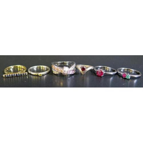 17 - Six Silver Rings,  15g...