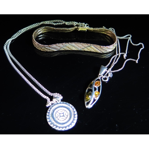 2 - A Silver Gilt Tri-Colour Bracelet and two silver pendant necklaces, 39g