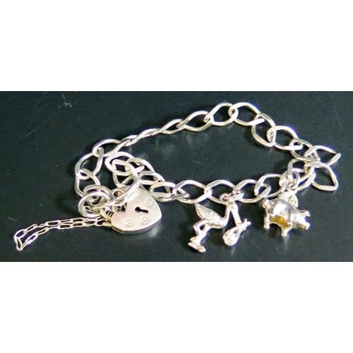23 - A Silver Charm Bracelet, 7g...