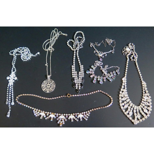 26 - A Silver and Stone Set Necklace, silver pendant necklace (17g) and costume jewellery...