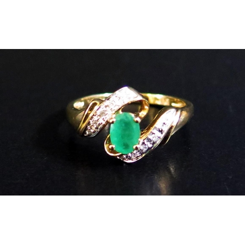 32 - A 9ct Yellow Gold, Emerald and Diamond Ring, size N, 2g...