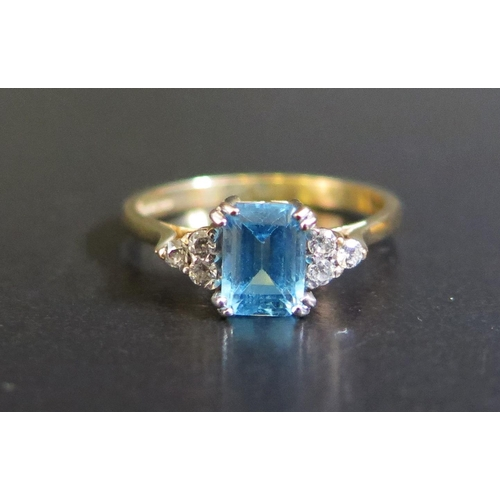 34 - A 9ct Yellow Gold, Blue Stone and Diamond Ring, size O.5, 2.3g...
