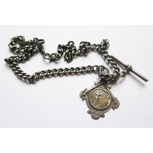 366 - A Silver Albert with T-bar and Fob, 48.2g...