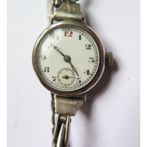 389 - A Pilot Ladies Silver Cased Wristwatch, Birmingham 1933, running, needs attention...