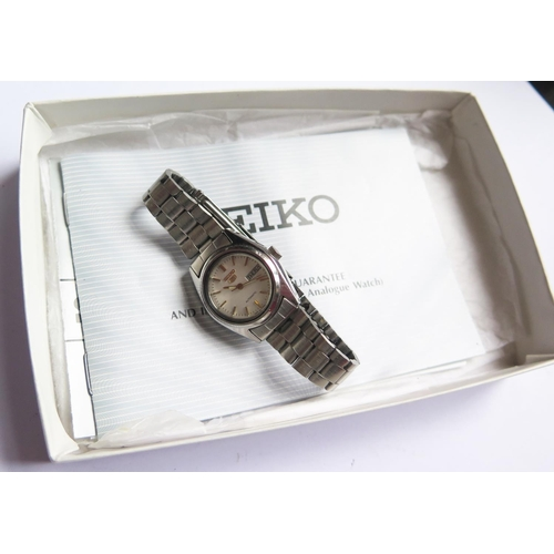 391 - A SEIKO Ladies Automatic Stainless Steel Wristwatch with paperwork dated 94, running...