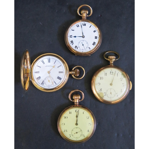 395 - A Selection of Gold Plated Pocket Watches including Waltham hunter. All A/F