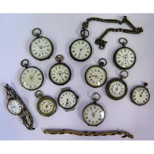 396 - A Selection of Ten Ladies Silver Fob Watches, two silver wristwatches and gold plated bracelet